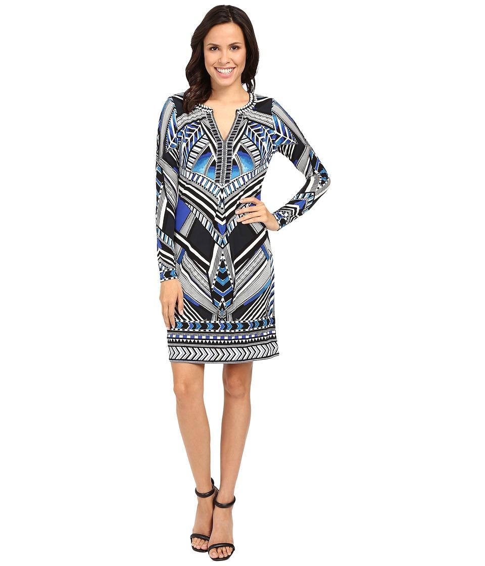 Hale Bob Graphic Impact Jersey Dress (Blue) Women