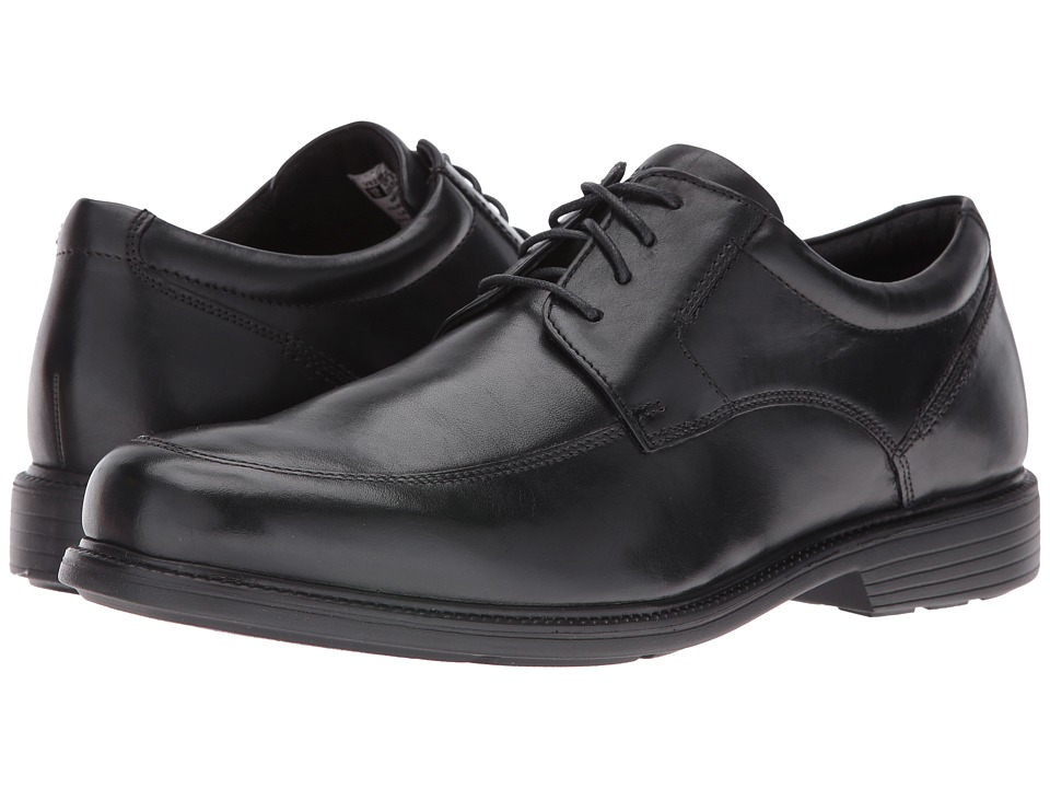 Rockport - Charles Road Apron Toe Oxford (Black Leather) Men's Lace up casual Shoes