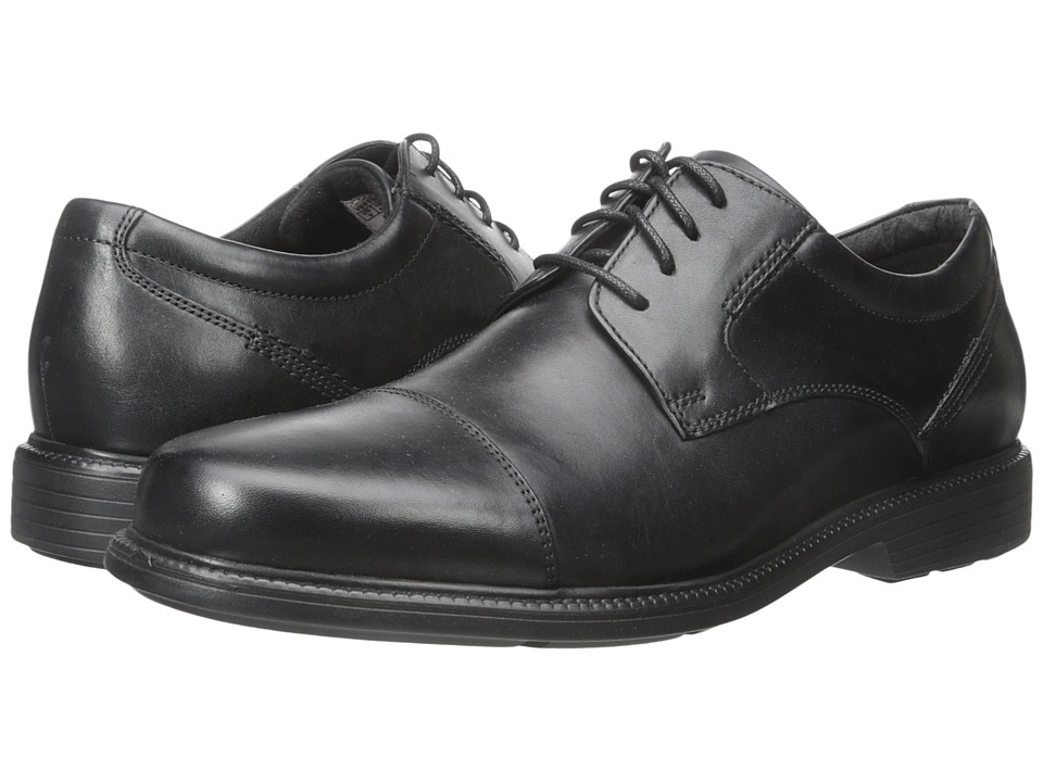 Rockport - Charles Road Cap Toe Oxford (Black Leather) Men's Lace up casual Shoes