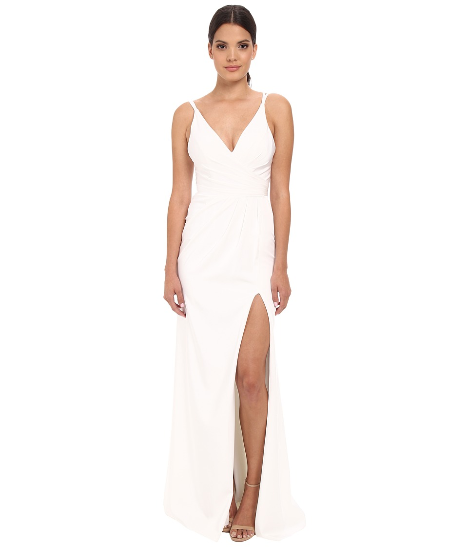 Faviana Faille Satin V-Neck Gown with Draped Skirt (Ivory) Women