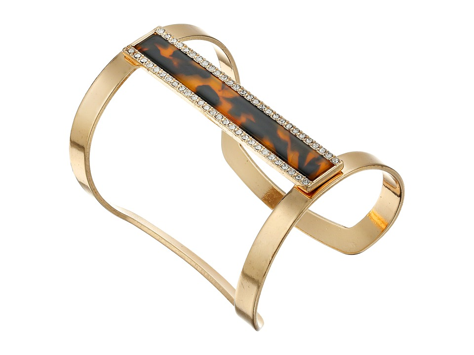 GUESS - Long Framed Bar Cuff Bracelet (Gold/Crystal/Tortoise) Bracelet