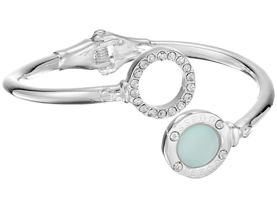GUESS - Circle Hinge Bypass Bracelet (Silver/Crystal/Blue) Bracelet