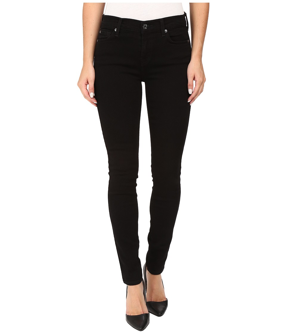 7 For All Mankind - Skinny w/ Squiggle in Washed Overdyed Black (Washed Overdyed Black) Women's Jeans