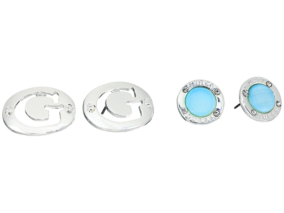 GUESS - Double Logo Button Stud Set Earrings (Silver/Blue) Earring