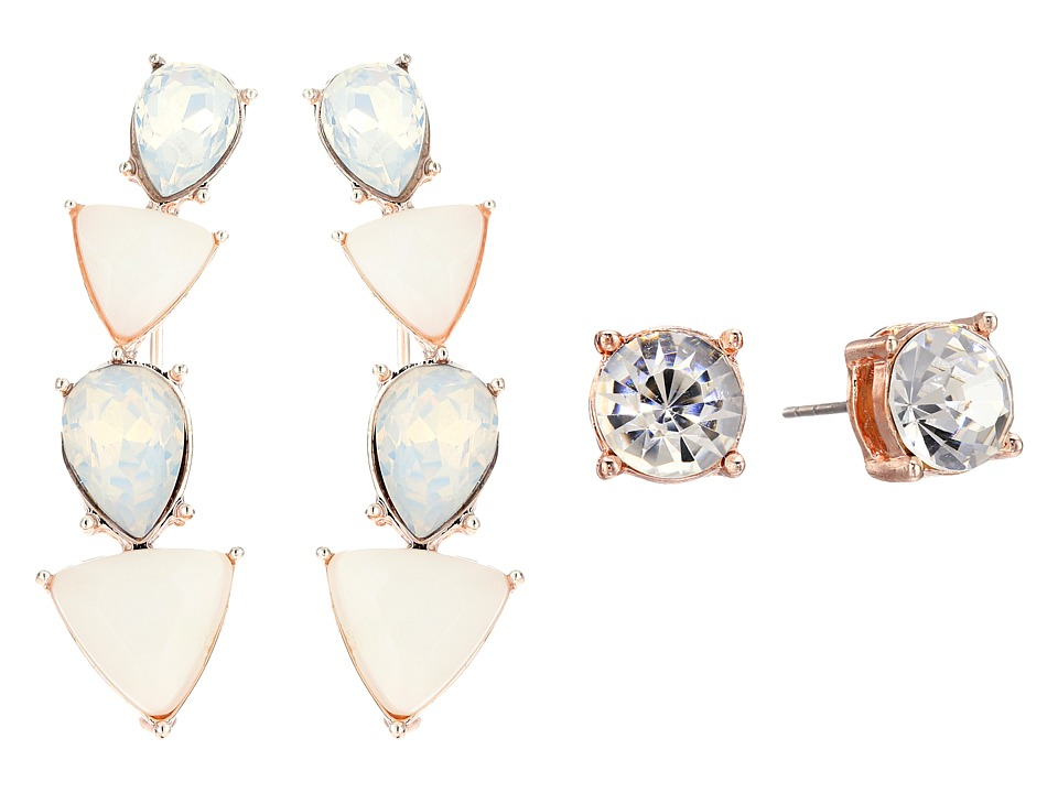 GUESS - Alternating Stone Ear Crawler and Stone Stud Set Earrings (Rose Gold/White/Crystal) Earring