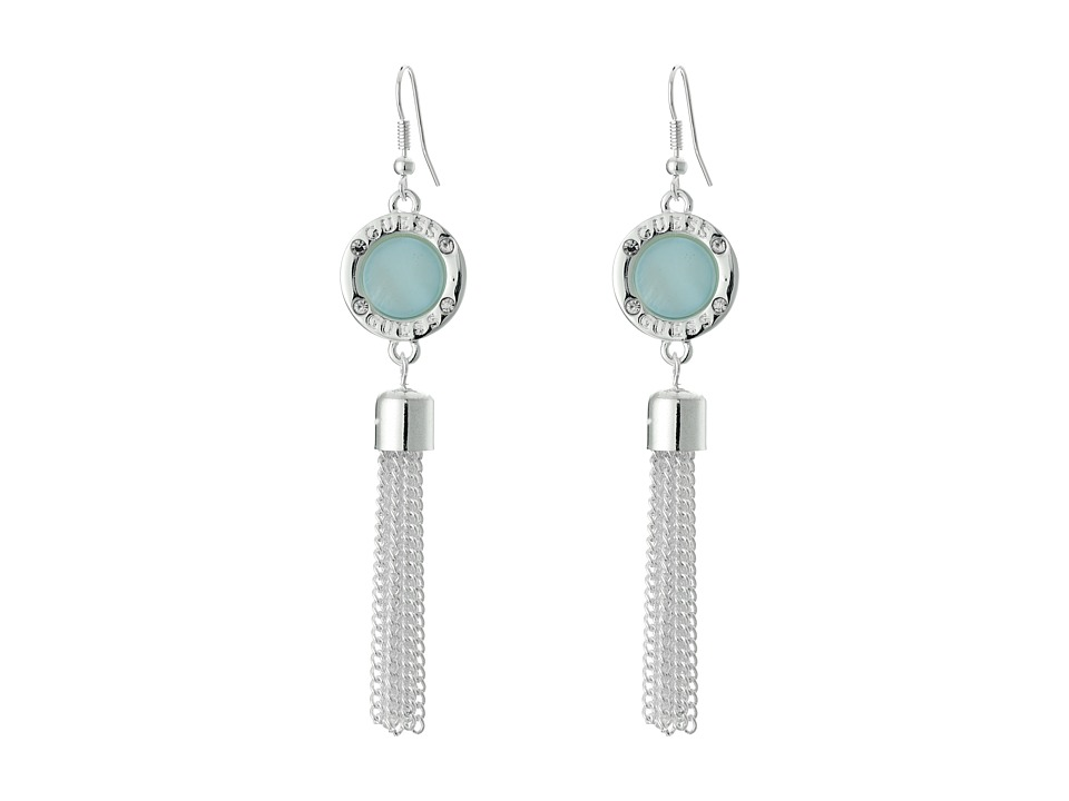 GUESS - Round Disc with Chain Fringe Linear Ear On Wire Earrings (Silver/Blue) Earring