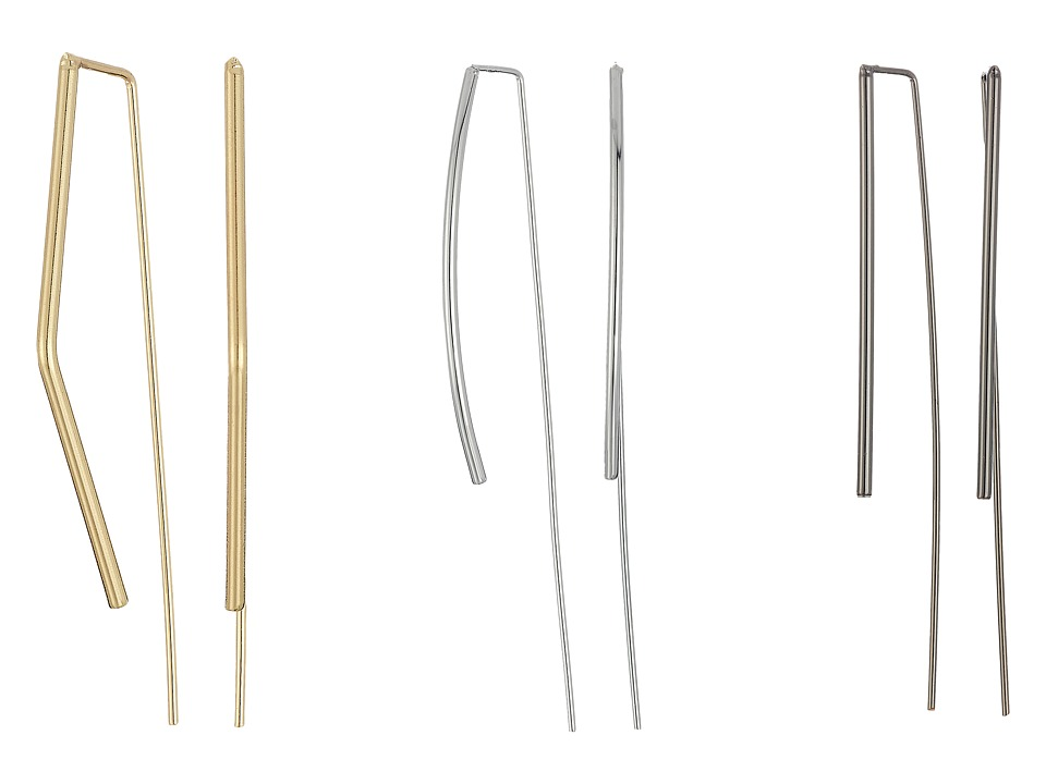 GUESS - Thin Bent Stick Threader Trio Set Earrings (Silver/Gold/Hematite) Earring