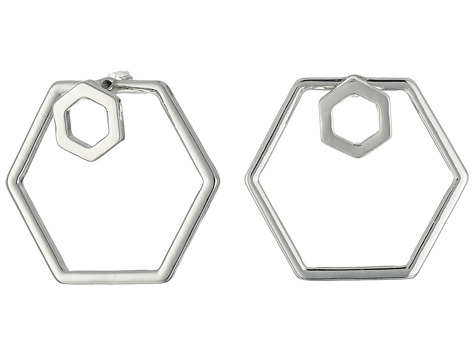 GUESS - Hexagon Trio Set Including A Front To Back Hex Hoop Earrings (Silver/Blue) Earring