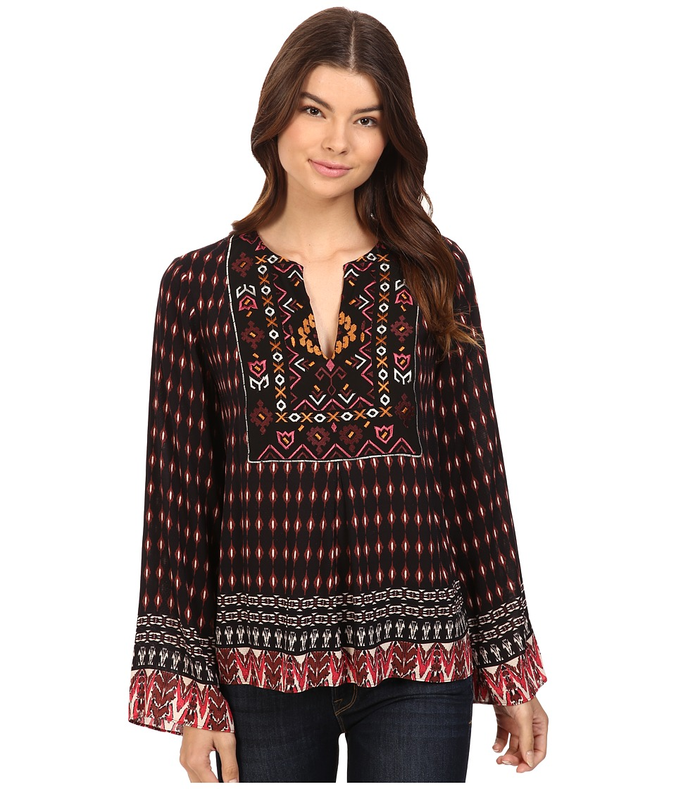 Hale Bob - City Explore Embroidered Top (Maroon) Women's Clothing