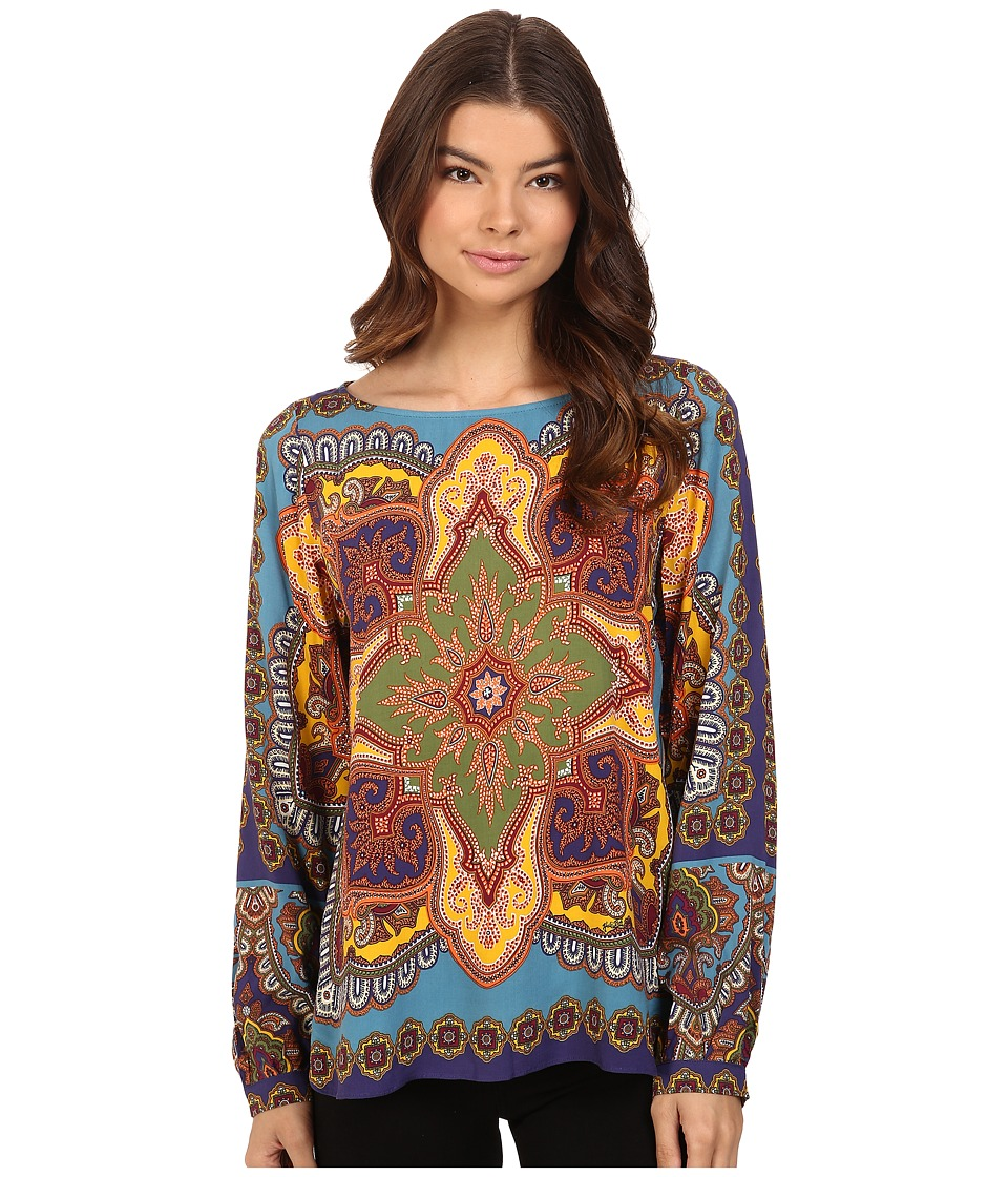 Hale Bob - Points of Paisley Top (Teal) Women's Clothing
