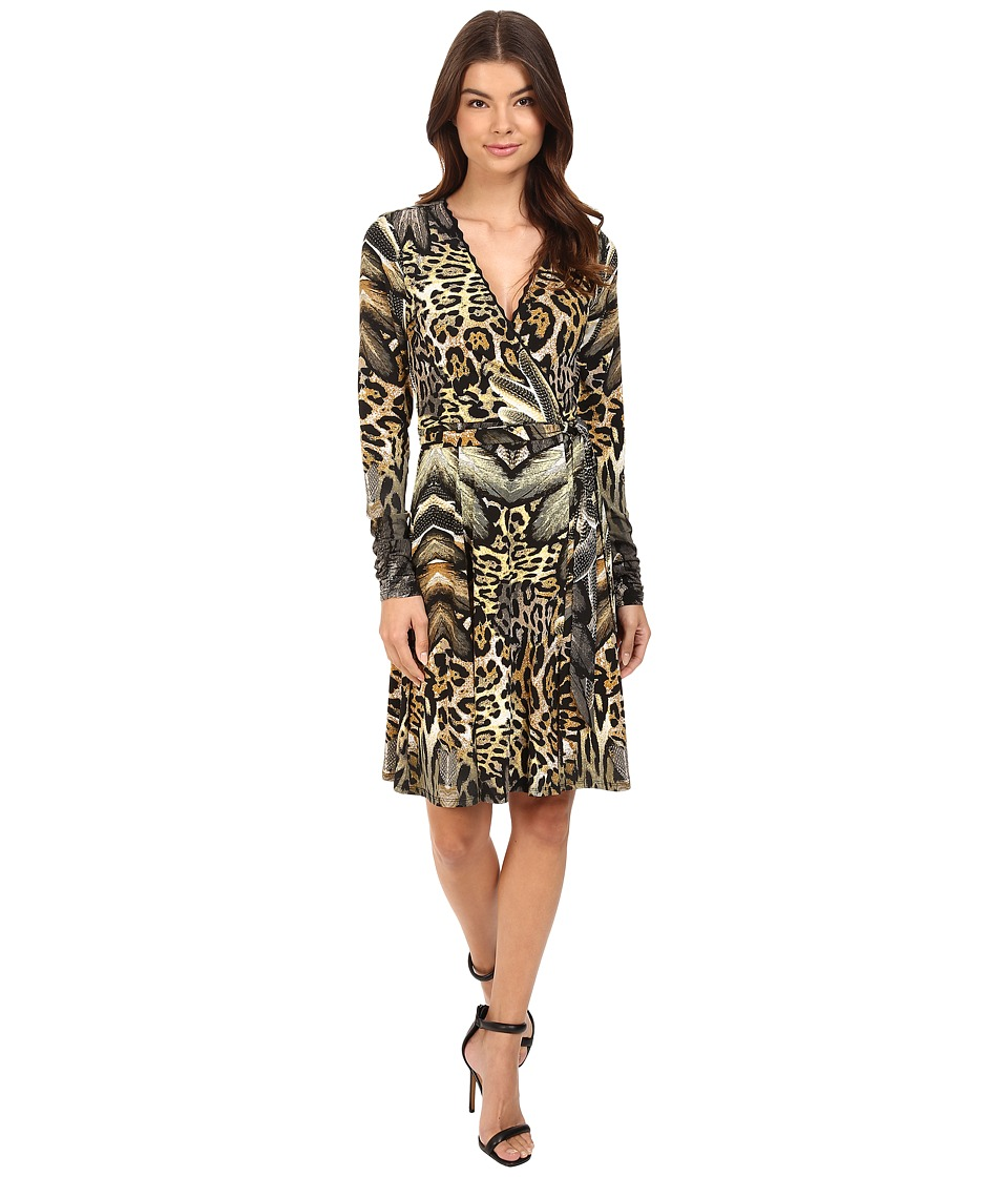 Hale Bob Jungle Book Wrap Dress (Brown) Women