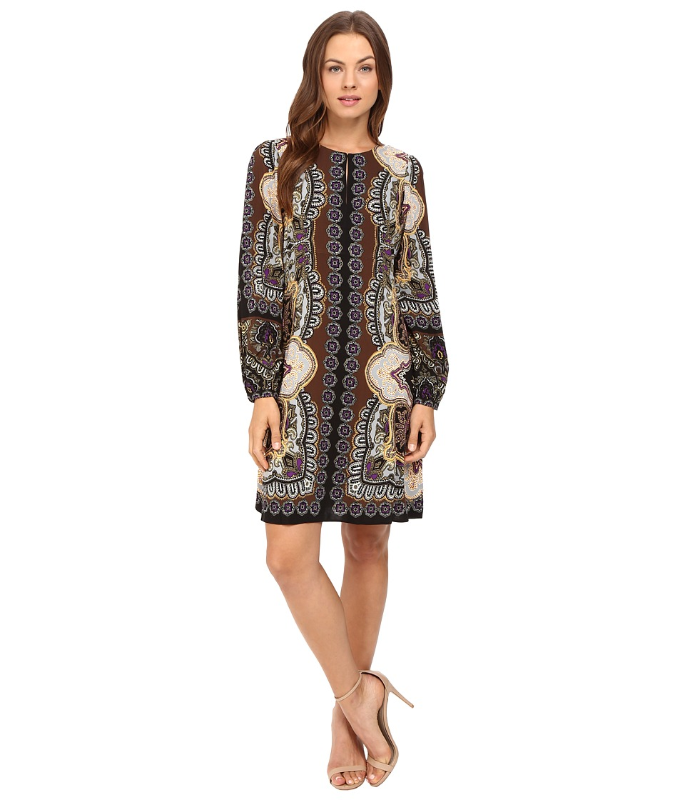Hale Bob - Points of Paisley Dress (Brown) Women's Dress