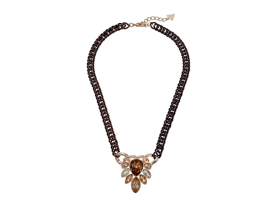 GUESS - Cluster Stone Front Necklace (Chocolate/Rose Gold/Smoked Topaz) Necklace