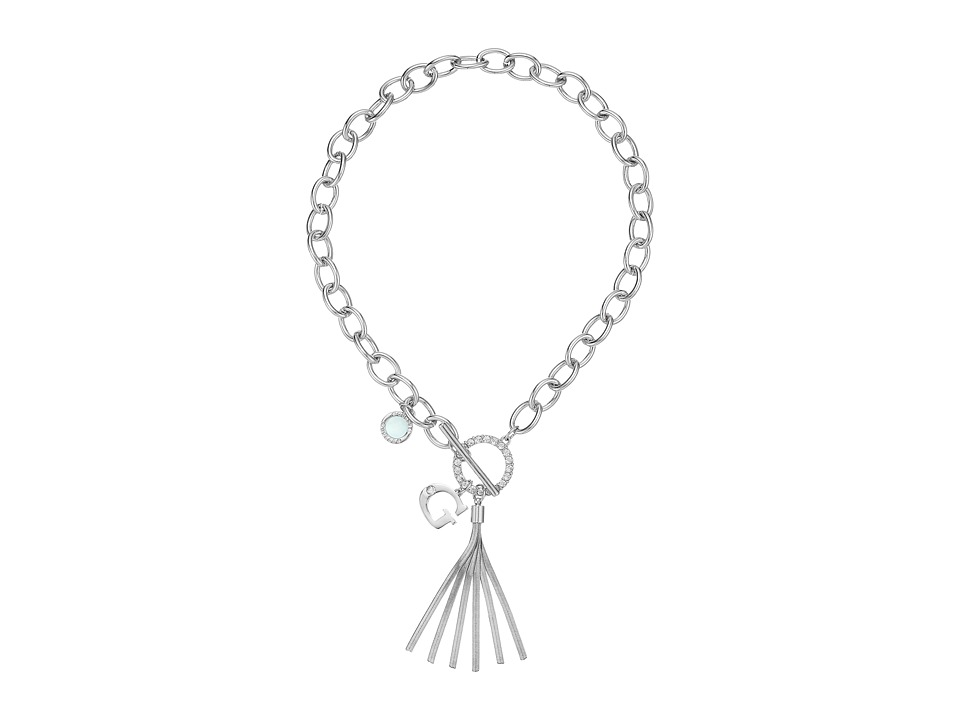 GUESS - Chain Toggle Front Neck with Tassel and Charm Necklace (Silver/Crystal/Blue) Necklace