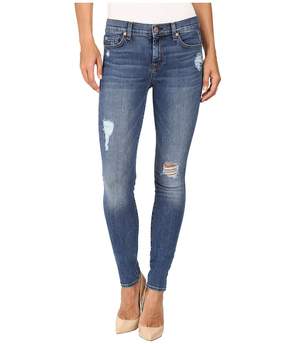 7 For All Mankind - The Skinny w/ Contrast Squiggle Destroy in Hyde Park (Hyde Park) Women's Jeans