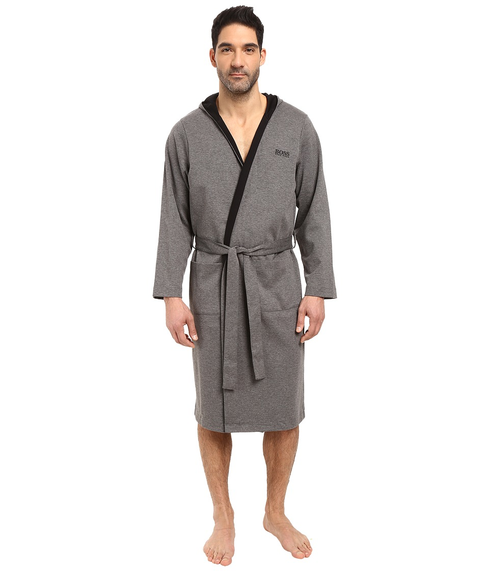 BOSS Hugo Boss - Double Face Hooded Robe (Charcoal) Men's Robe