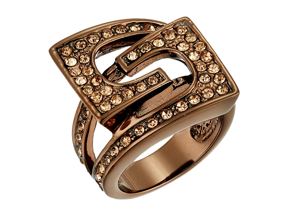 GUESS - Buckle Ring (Chocolate/Peach/Crystal) Ring