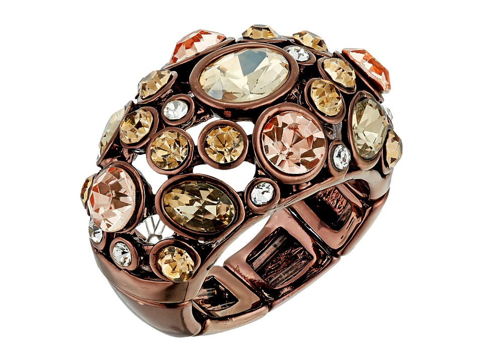 GUESS - Clustered Stone Dome Ring (Chocolate/Peach/Crystal) Ring