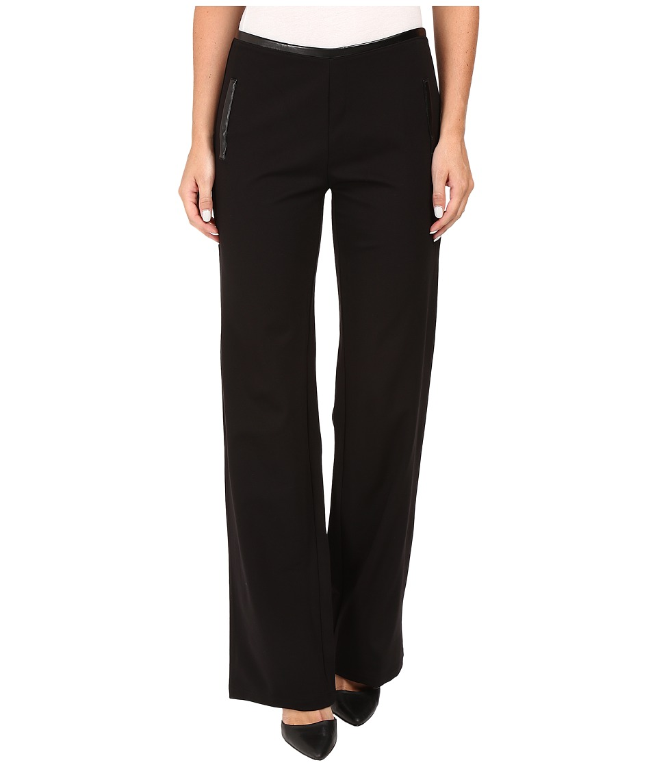HUE - Leatherette Trim Luxe Ponte Pants (Black) Women's Casual Pants