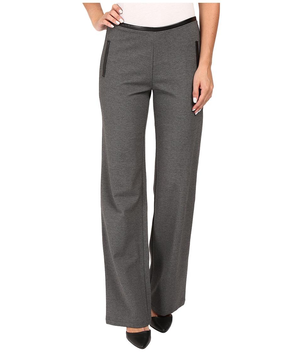 HUE - Leatherette Trim Luxe Ponte Pants (Graphite Heather) Women's Casual Pants
