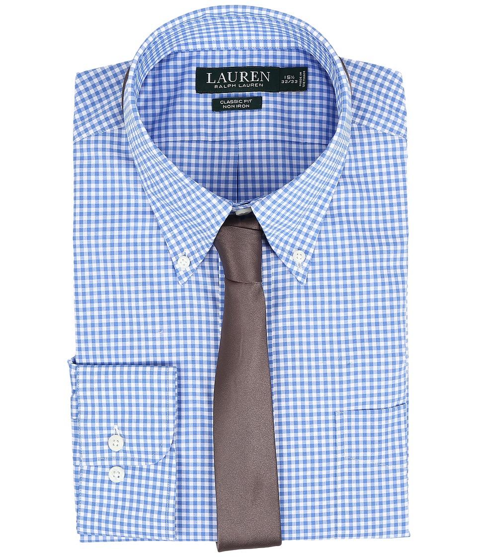 LAUREN Ralph Lauren - Classic Button Down with Pocket Dress Shirt (Blue/White) Men's Long Sleeve Button Up