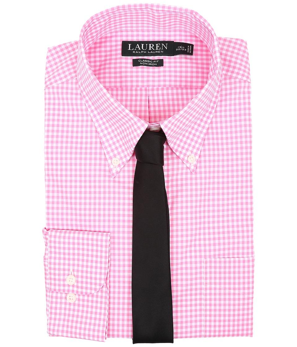 LAUREN Ralph Lauren - Classic Button Down with Pocket Dress Shirt (Pink/White) Men's Long Sleeve Button Up