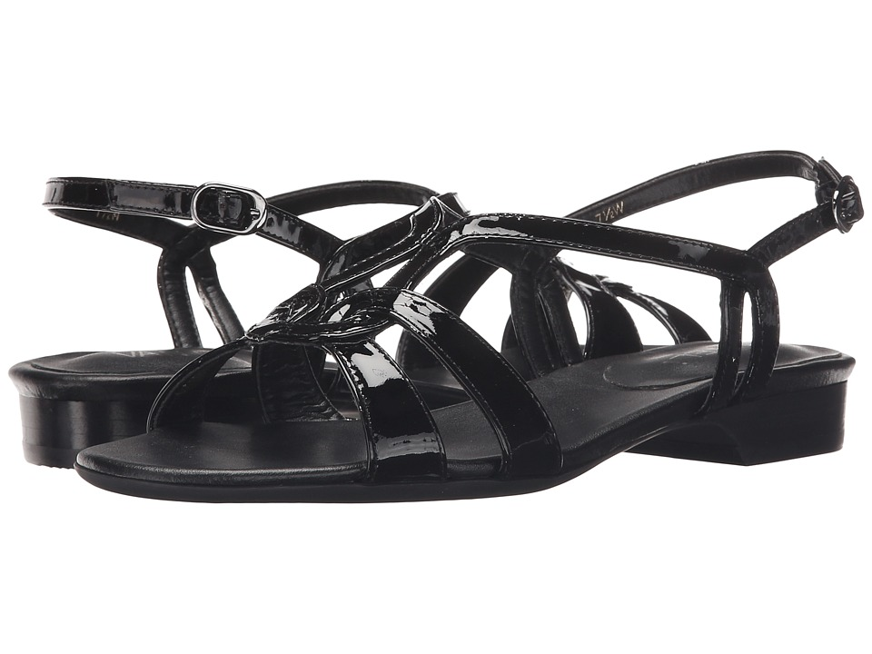 Vaneli - Benes (Black Smack Patent/Gunmetal Buckle) Women's Sandals