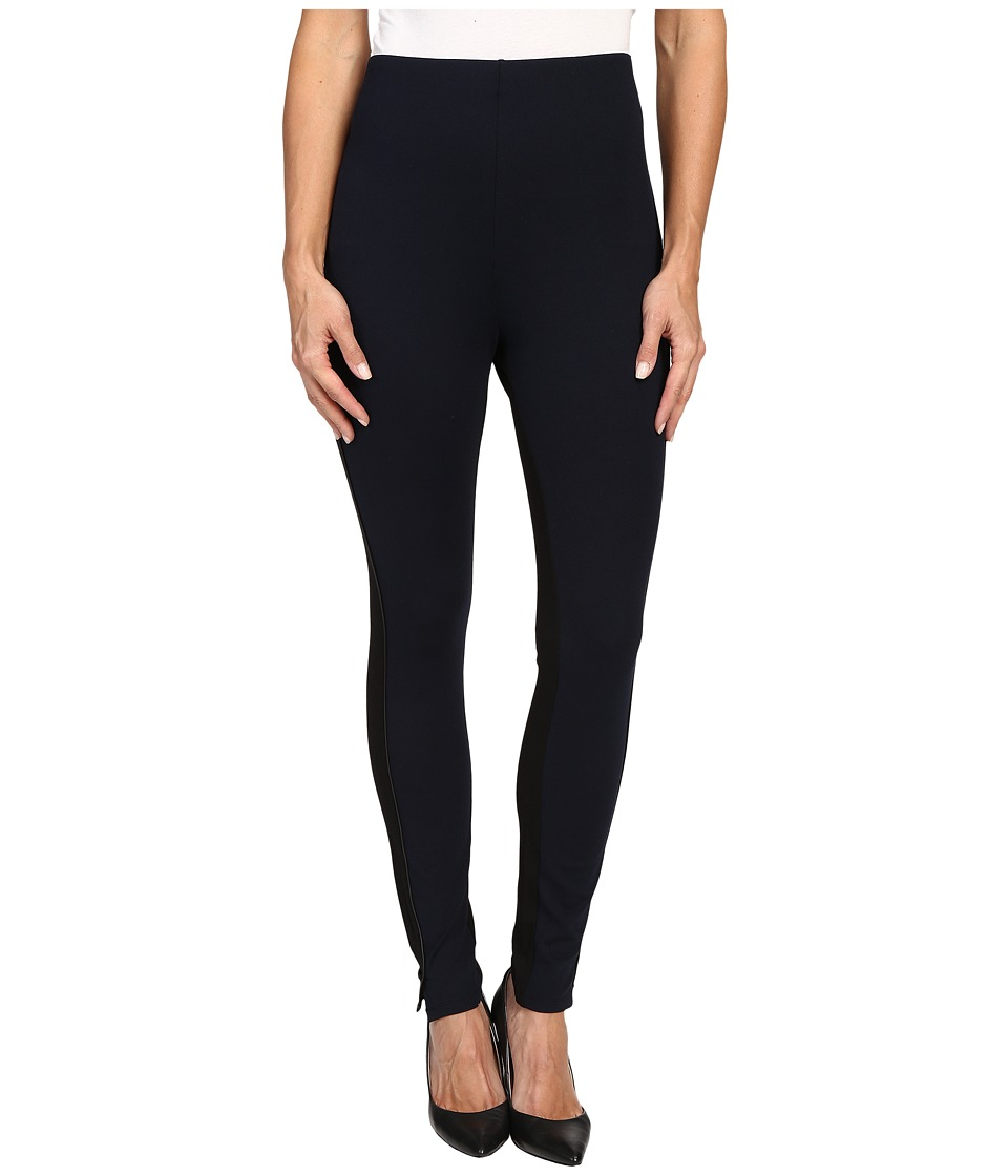 HUE - High Waist Piped Illusion Ponte Leggings (Black) Women's Casual Pants