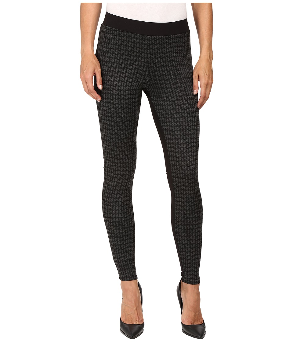 HUE - Houndstooth Blocked Illusion Ponte Leggings (Black) Women's Casual Pants