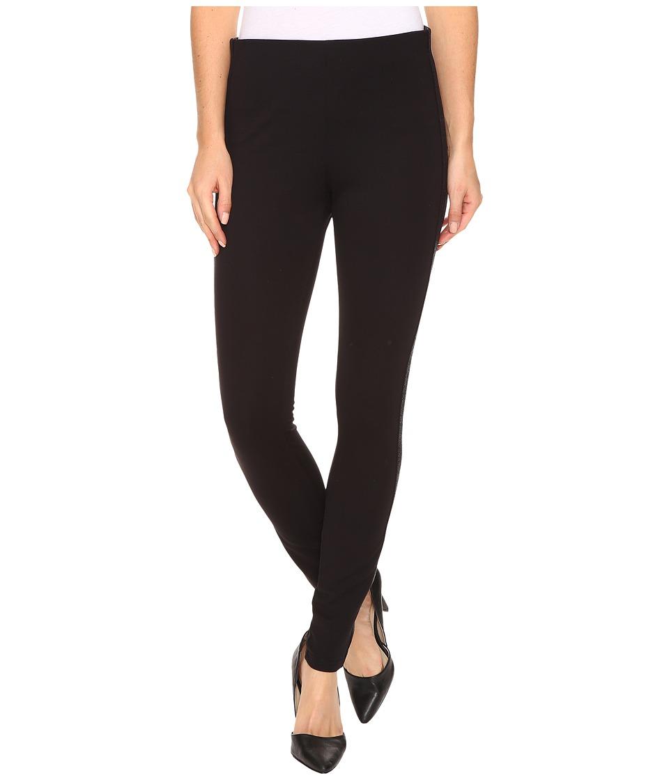 HUE - Metallic Ponte Leggings (Black) Women's Casual Pants