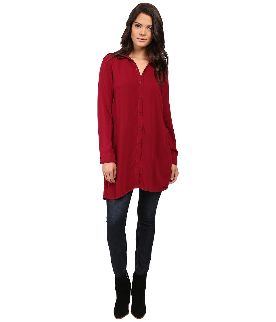 Splendid - Rayon Voile Tunic (Cranberry) Women's Blouse