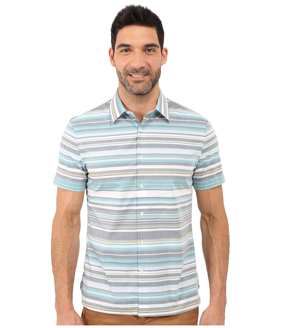Perry Ellis - Regular Fit Multicolor Stripe Pattern Shirt (Eclipse) Men's Short Sleeve Button Up