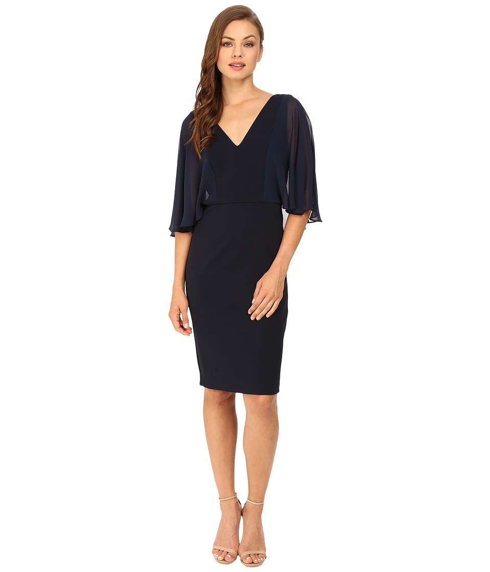 Badgley Mischka - Chiffon Combo V-Neck Cocktail (Navy) Women's Dress