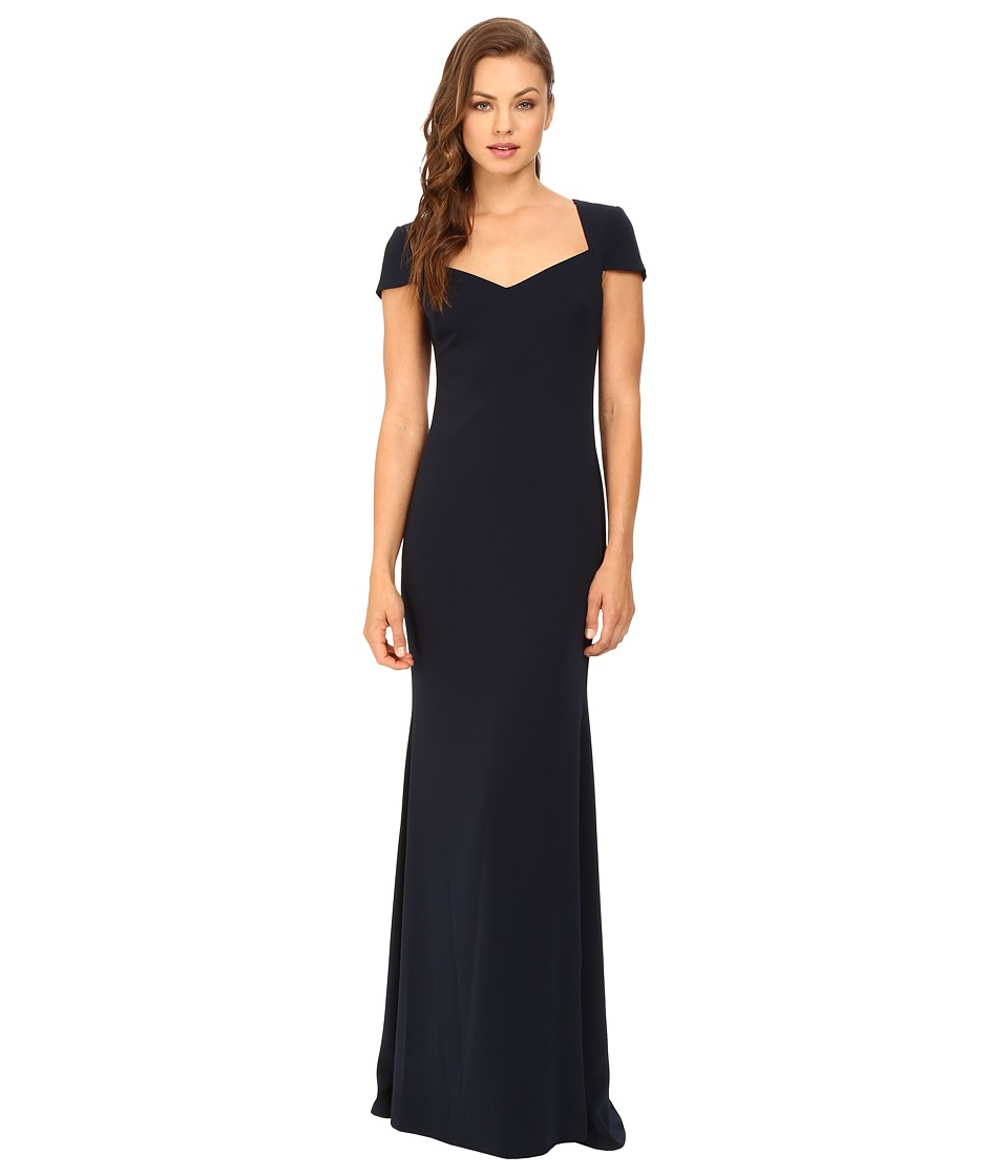 Badgley Mischka - Cap Sleeve Odessa Gown (Navy) Women's Dress