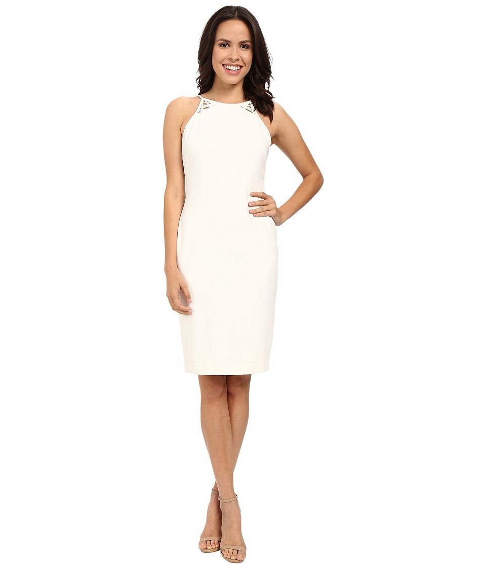 Badgley Mischka - Lattice Back Cocktail (Light Ivory) Women's Dress