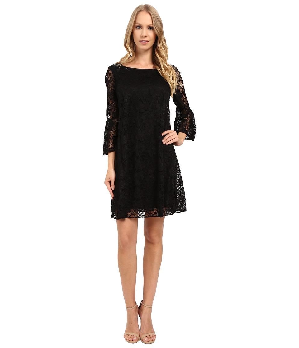 Badgley Mischka Flare Bell Sleeve Dress (Black) Women