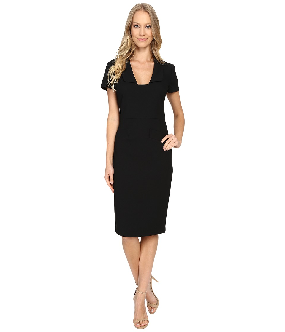 Badgley Mischka - Square Neck Sheath Dress (Black) Women's Dress