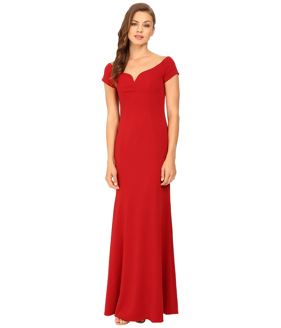 Badgley Mischka - Off Shoulder Short Sleeve Gown (Venetian Red) Women's Dress