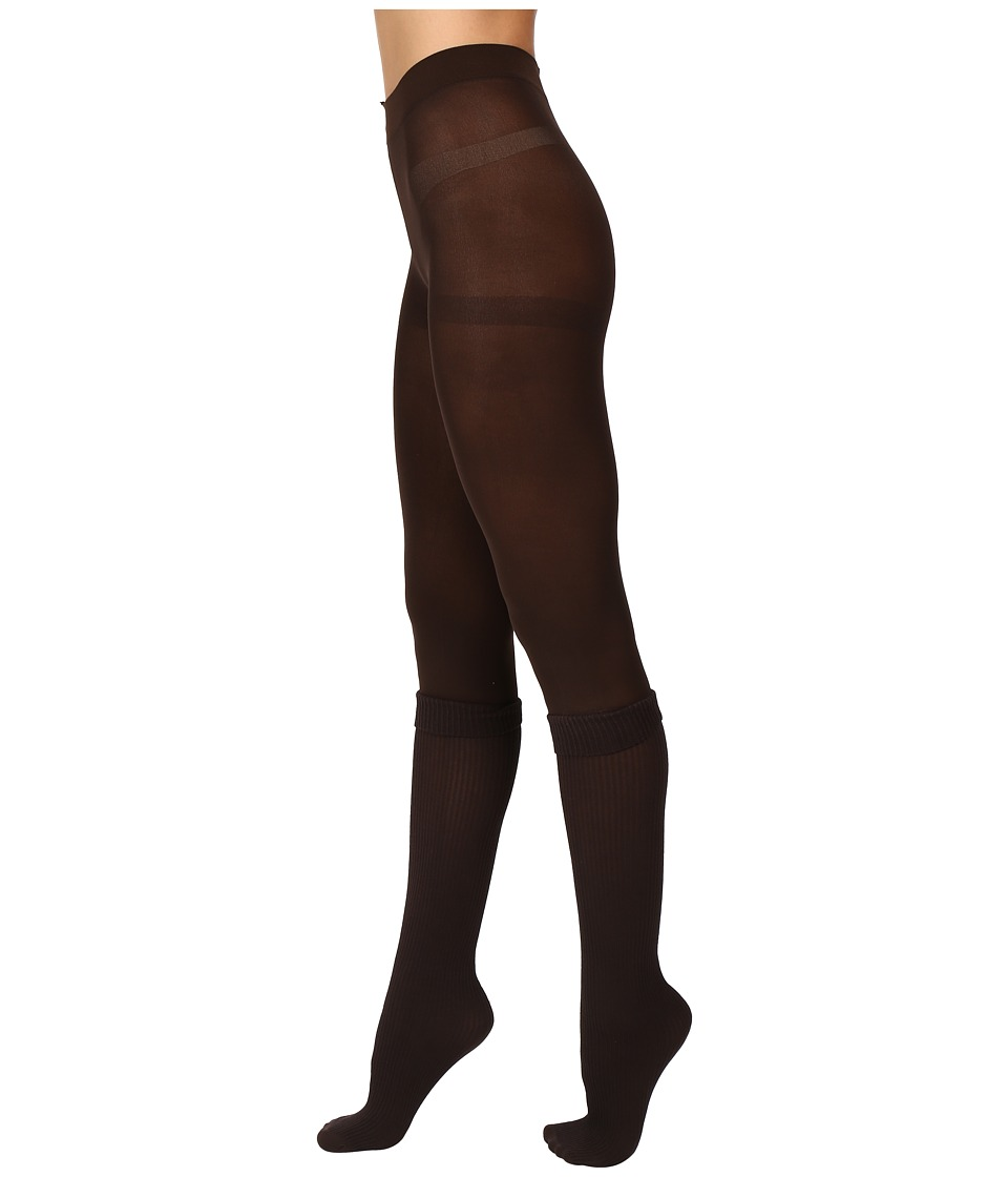 HUE - Rib Opaque Boot Sock Tights (Espresso) Hose