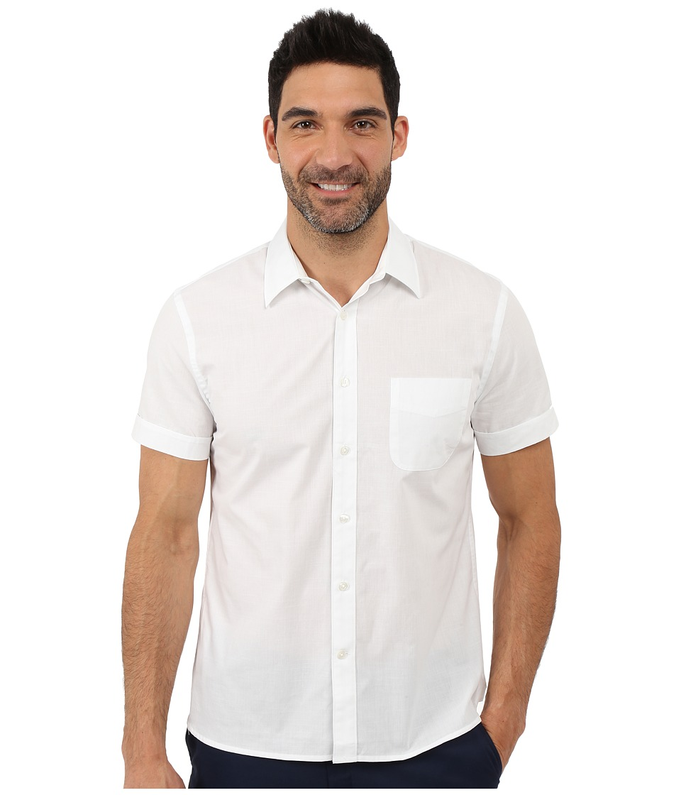 Perry Ellis - Stripe Texture Shirt with Chest Pocket (Bright White) Men's Short Sleeve Button Up
