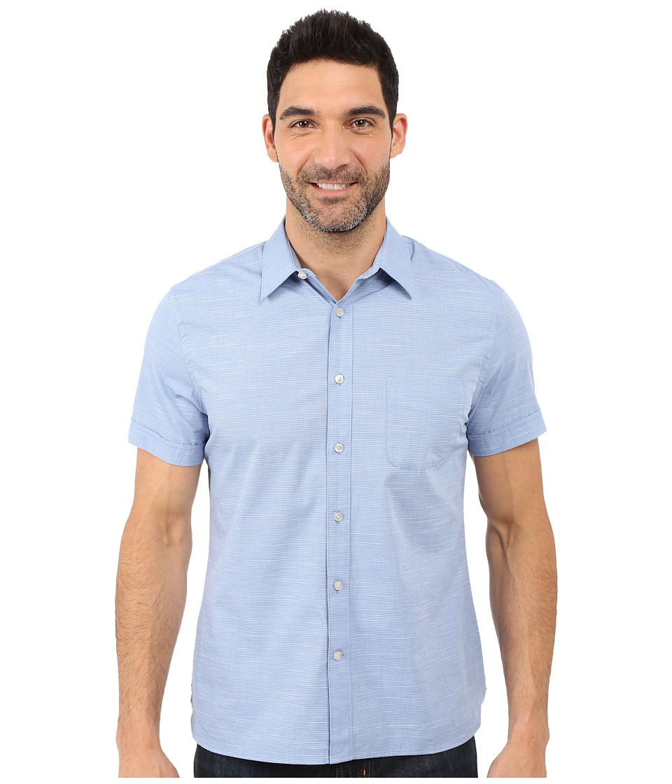 Perry Ellis - Stripe Texture Shirt with Chest Pocket (Bright Cobalt) Men's Short Sleeve Button Up