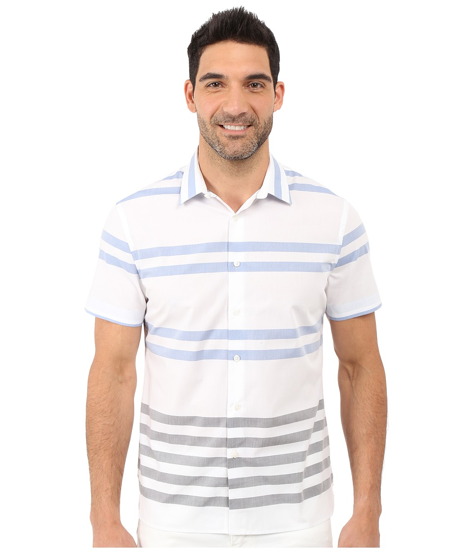 Perry Ellis - Regular Fit Stripe Pattern Shirt (Bright White) Men's Short Sleeve Button Up