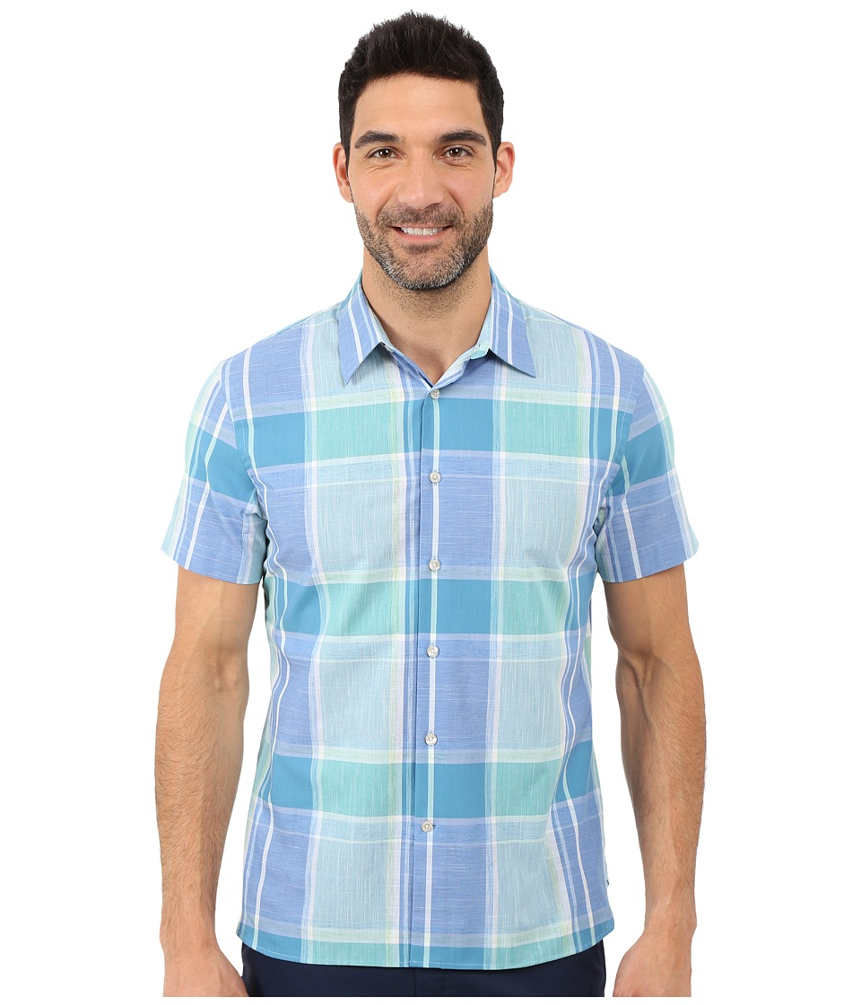 Perry Ellis - Large Chambray Plaid Shirt (Green/Blue) Men's Short Sleeve Button Up