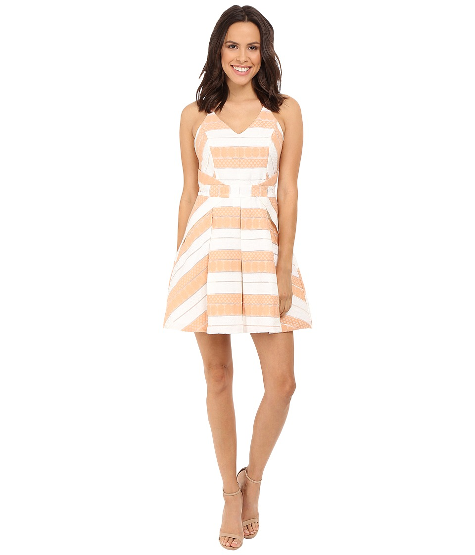 Adelyn Rae Woven Striped Fit and Flare Dress (White/Nude) Women