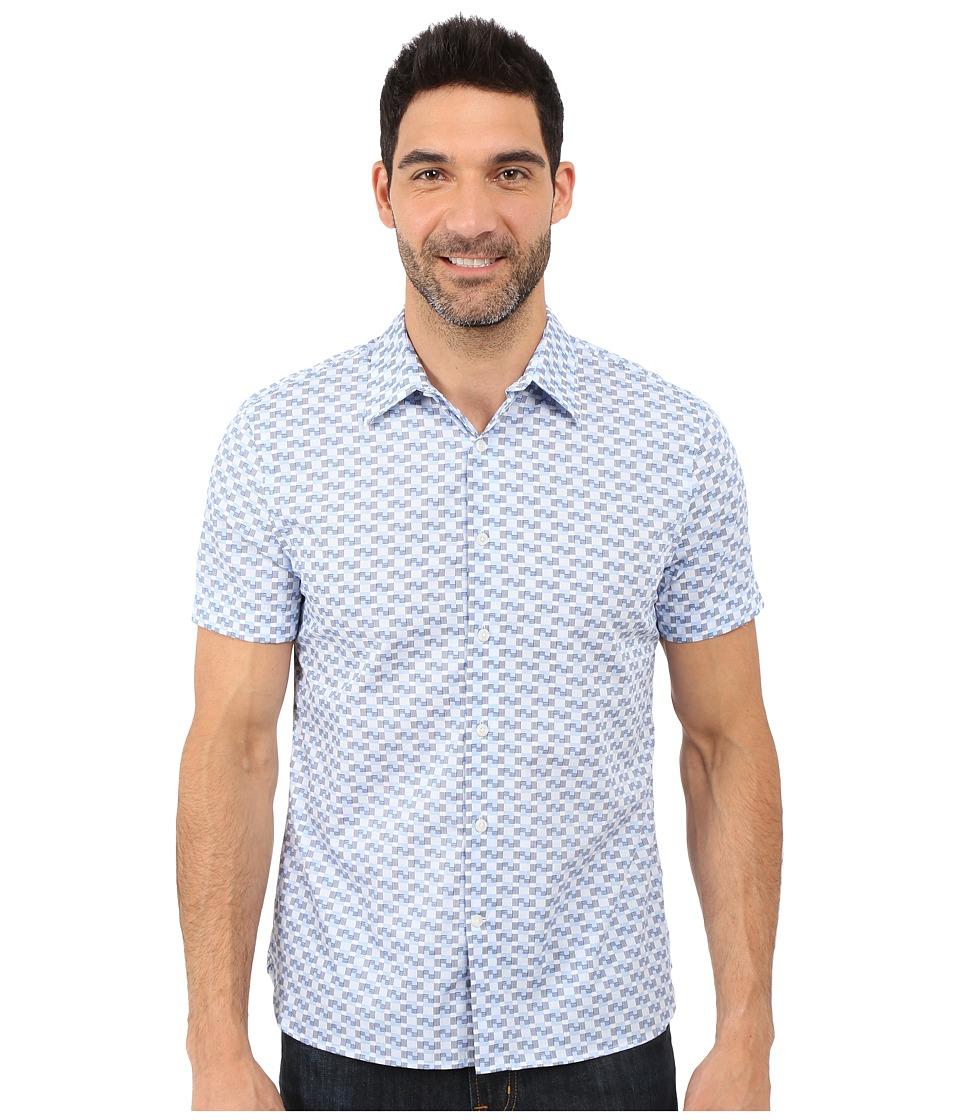 Perry Ellis - Exclusive Multicolor Print Shirt (Provence) Men's Short Sleeve Button Up