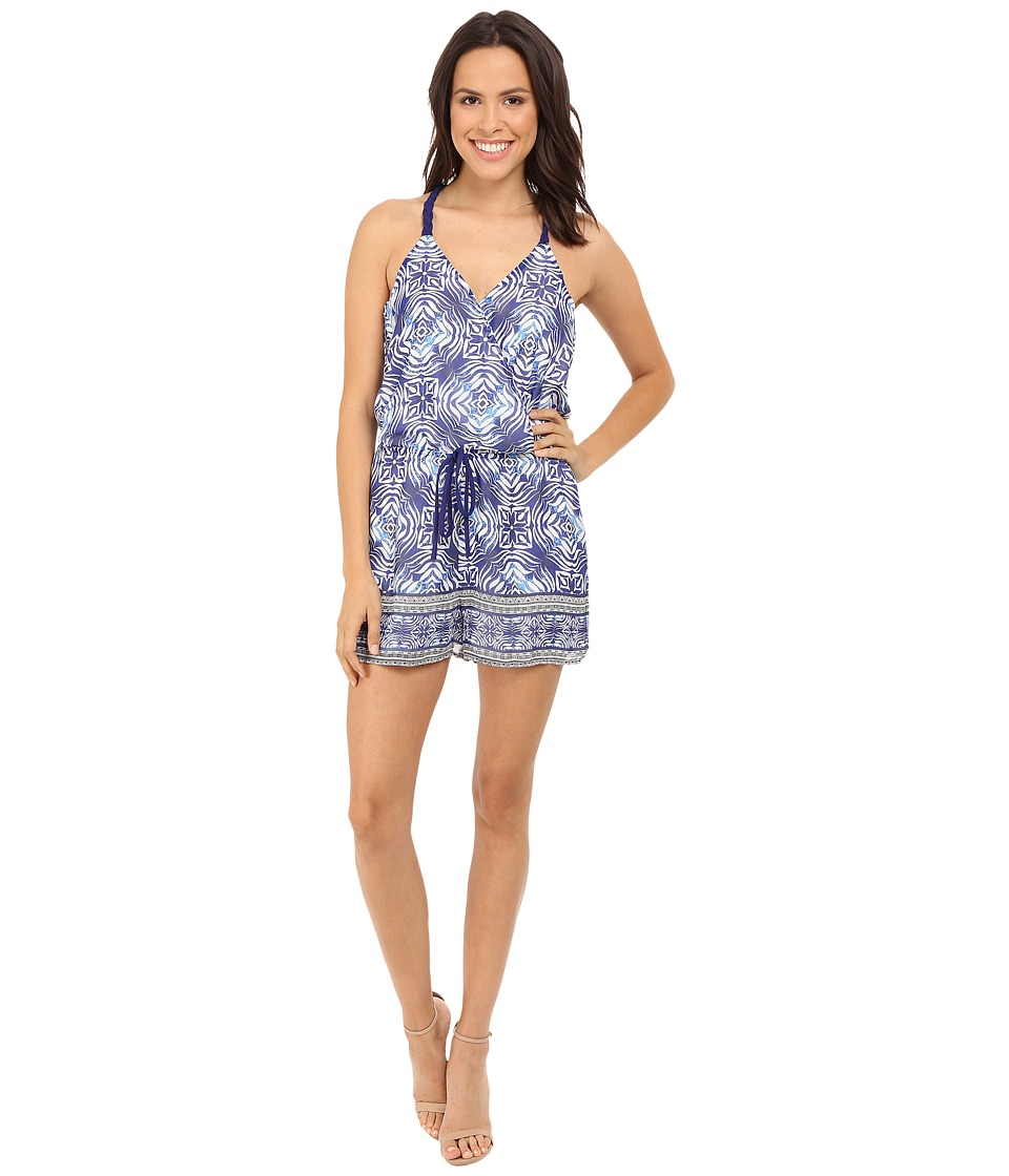 Adelyn Rae - Trible Print Romper (Blue/White) Women's Jumpsuit & Rompers One Piece