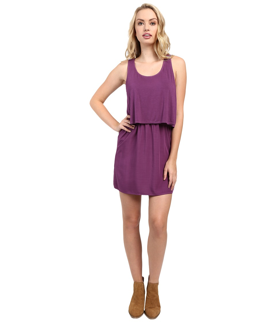 Splendid Rayon Voile and Jersey Dress (Grape) Women