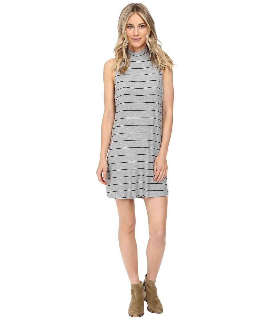 Splendid Loralie Stripe Mock Neck Dress (Heather Grey) Women