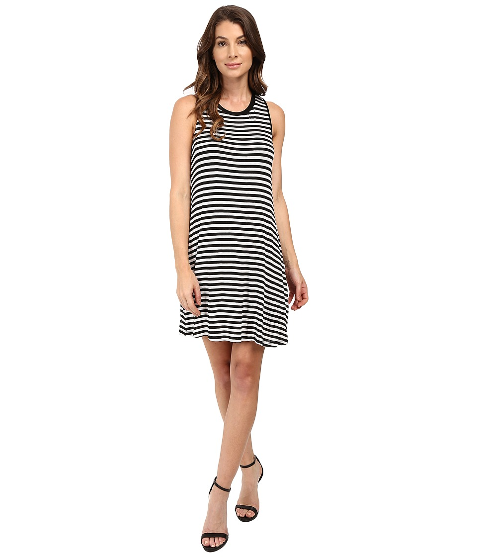 Splendid - Drapey Lux Stripe Dress (White/Black) Women's Dress