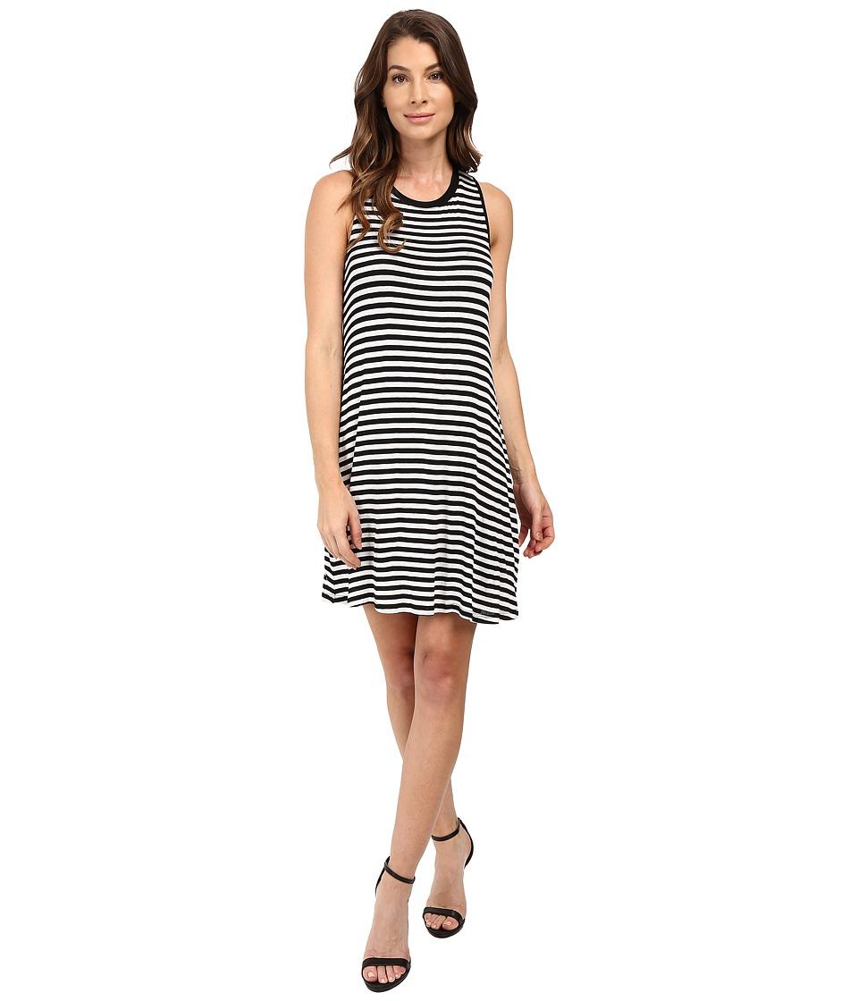 Splendid Drapey Lux Stripe Dress (White/Black) Women